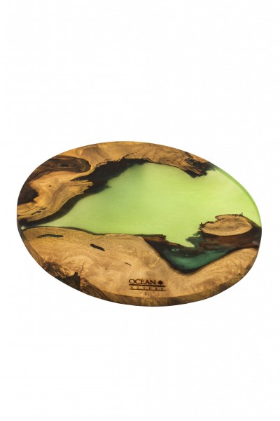 OCEAN Hookah Epoxidharz Untersetzer rund – Green